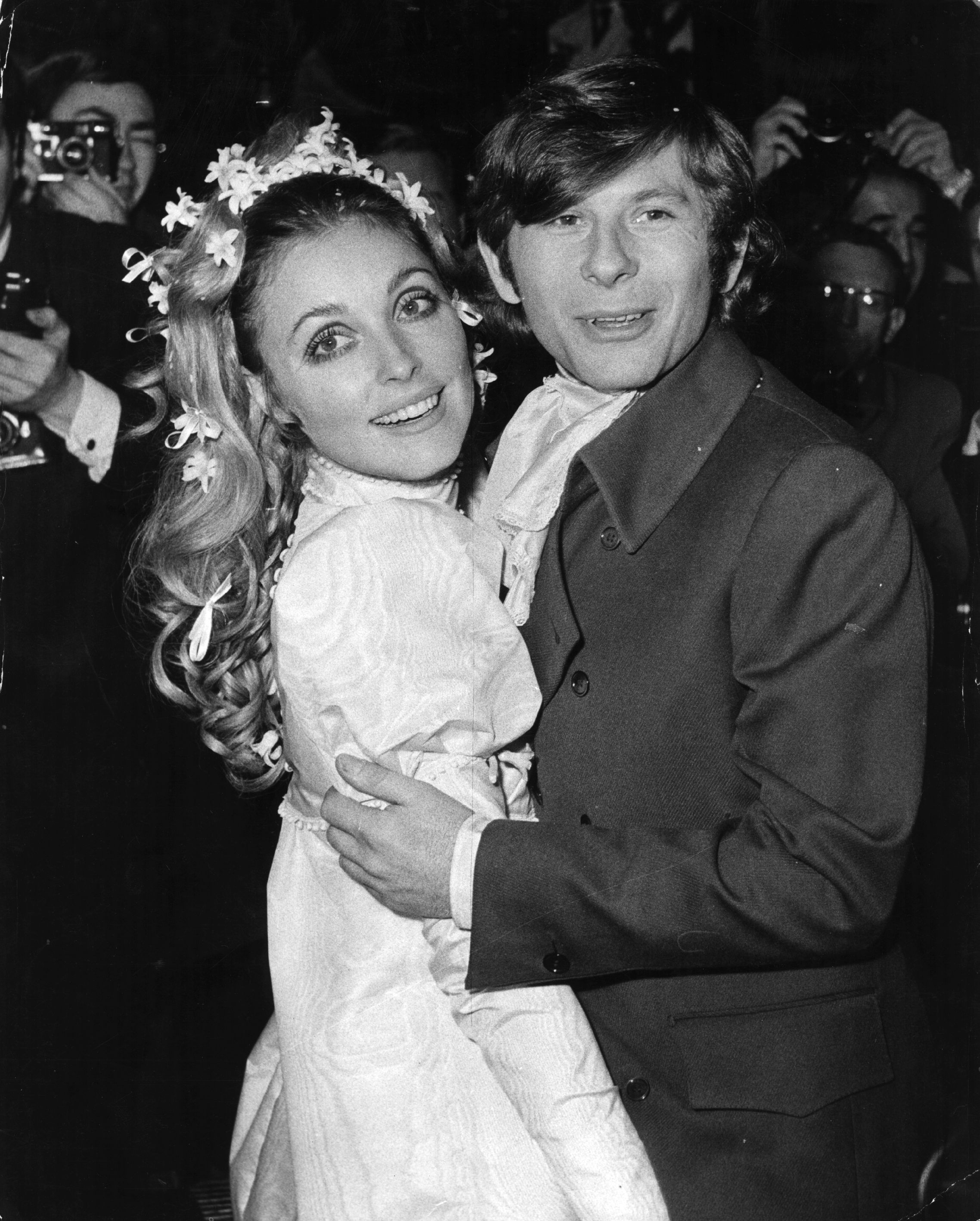 American film actress Sharon Tate (1943 - 1969) at her London wedding with Polish actor and director Roman Polanski. Sharon was murdered by followers of Charles Manson, when heavily pregnant with Roman's baby.  Original Publication: People Disc - HP0302   (Photo by Keystone/Getty Images)