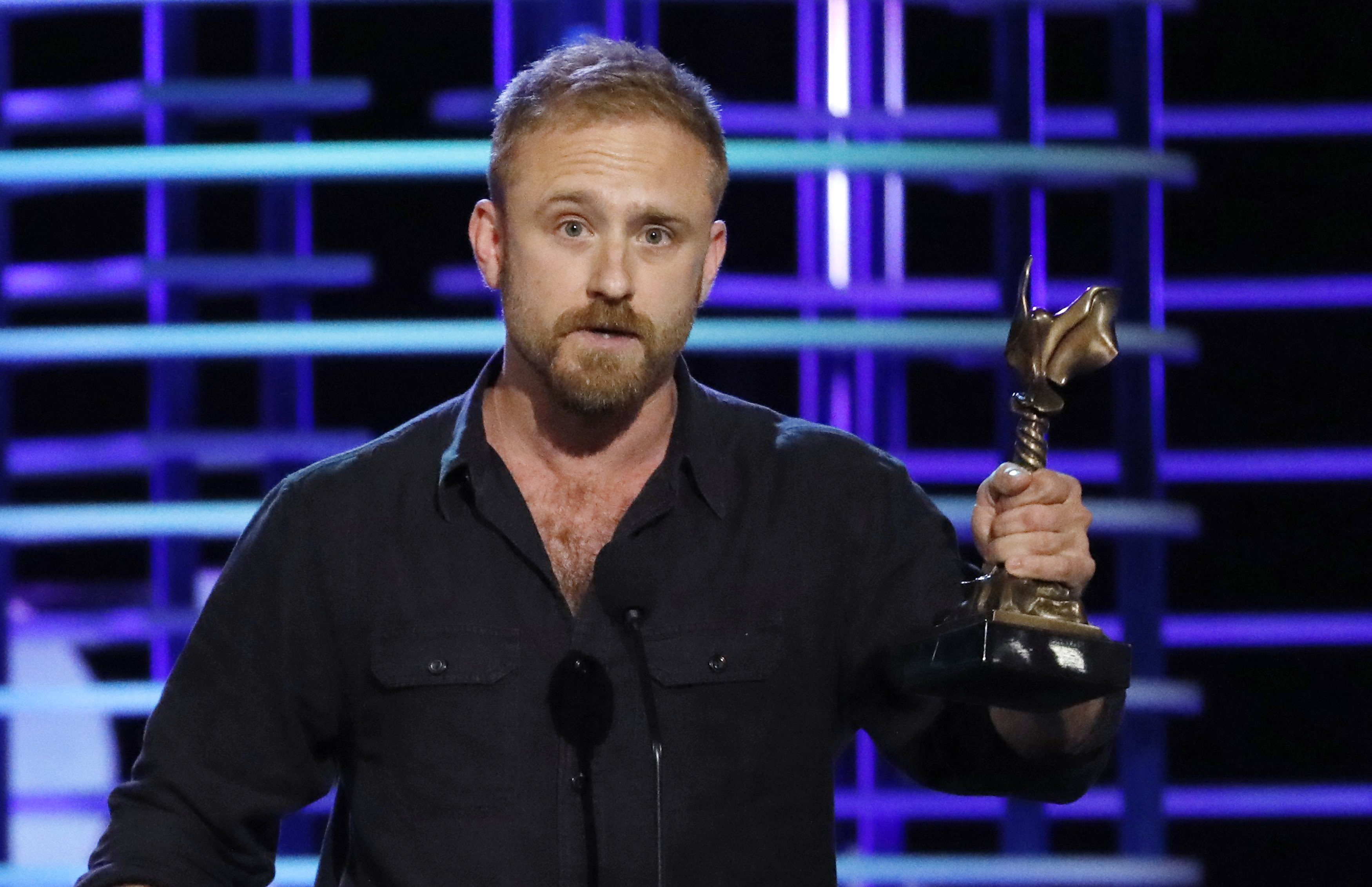 Actor Ben Foster accepts the Best Supporting Male award for his role in the film