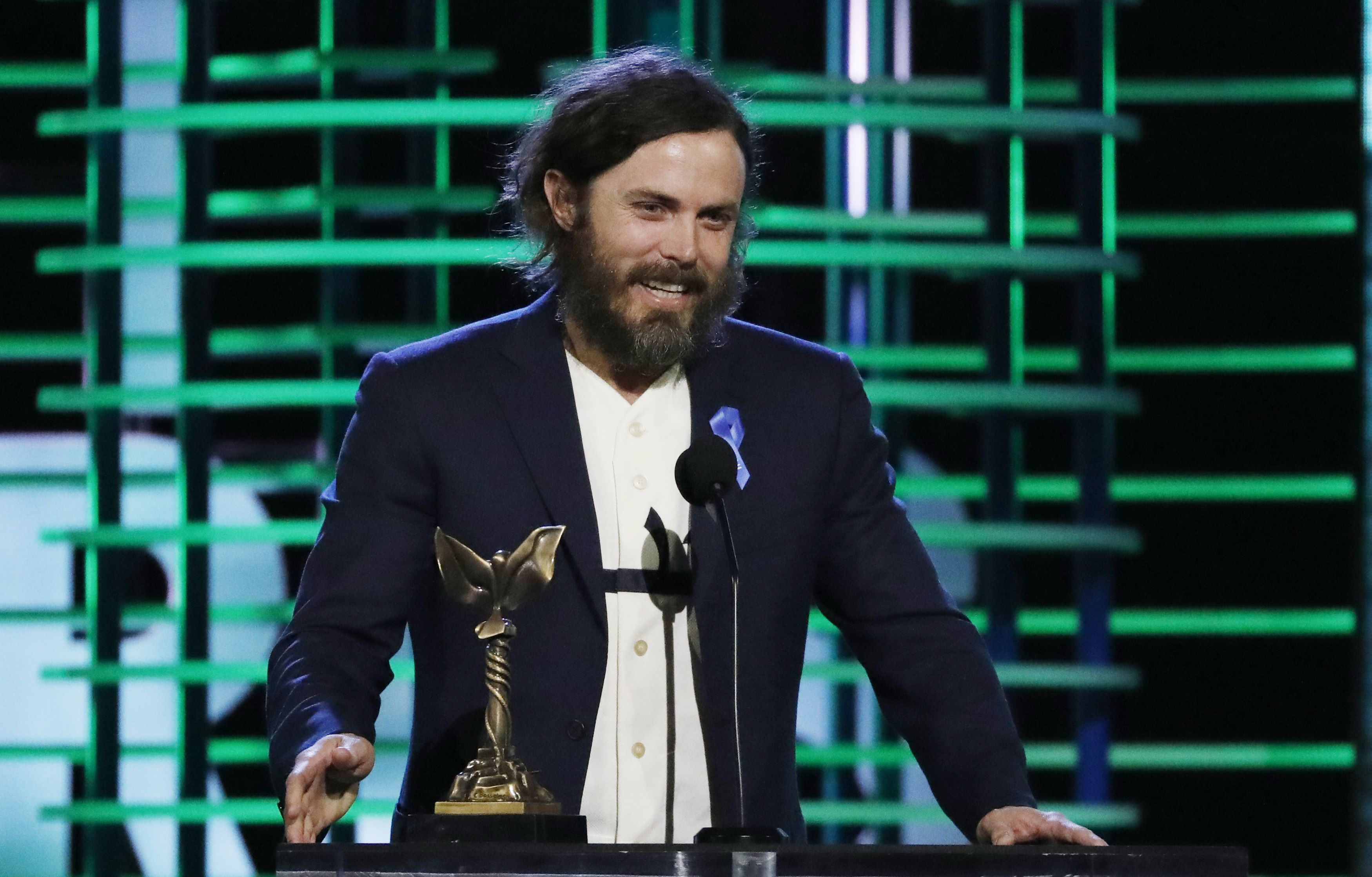 Best Male Lead winner Casey Affleck accepts his award for the film