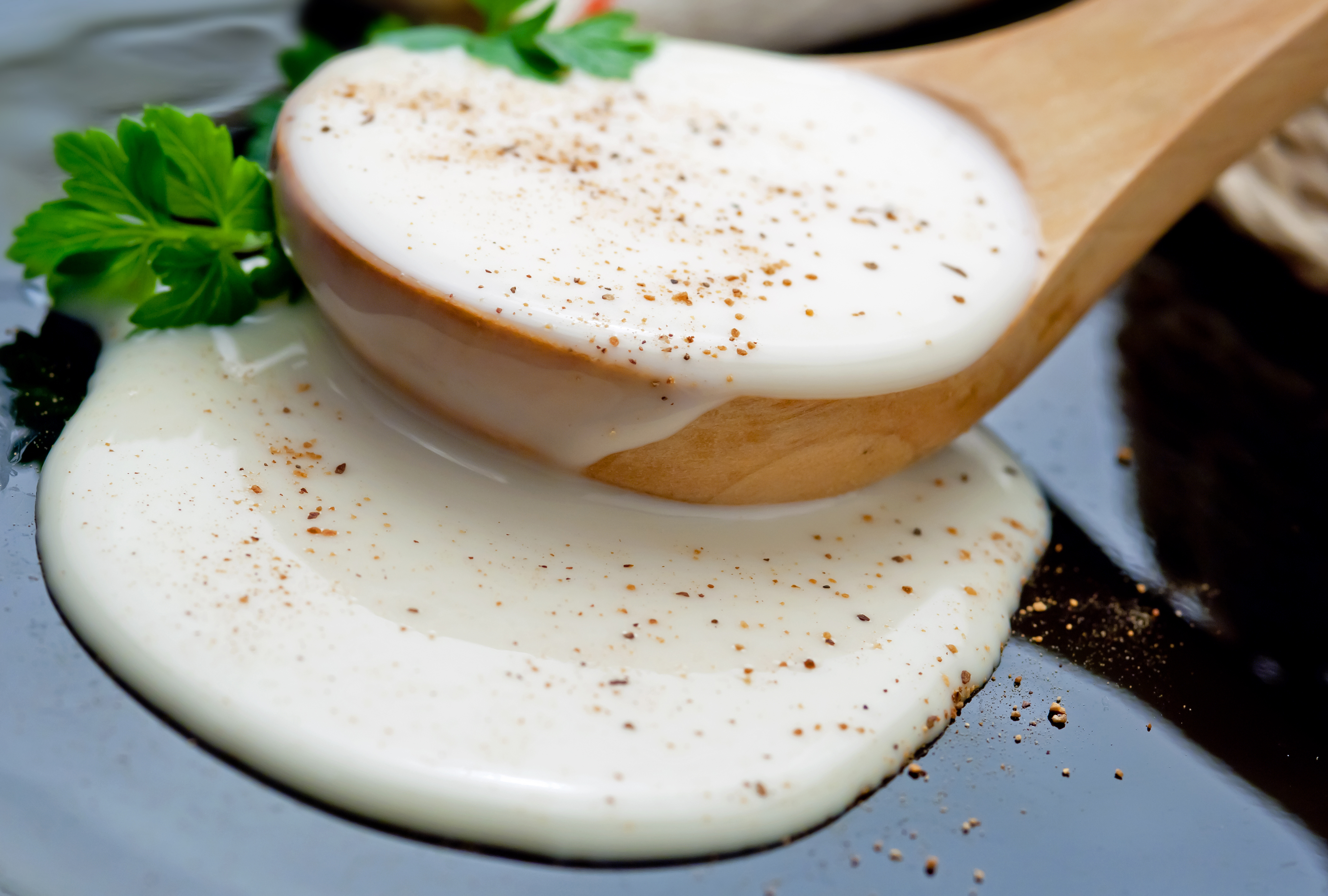Closeup of bechamel sauce in a wooden spoon