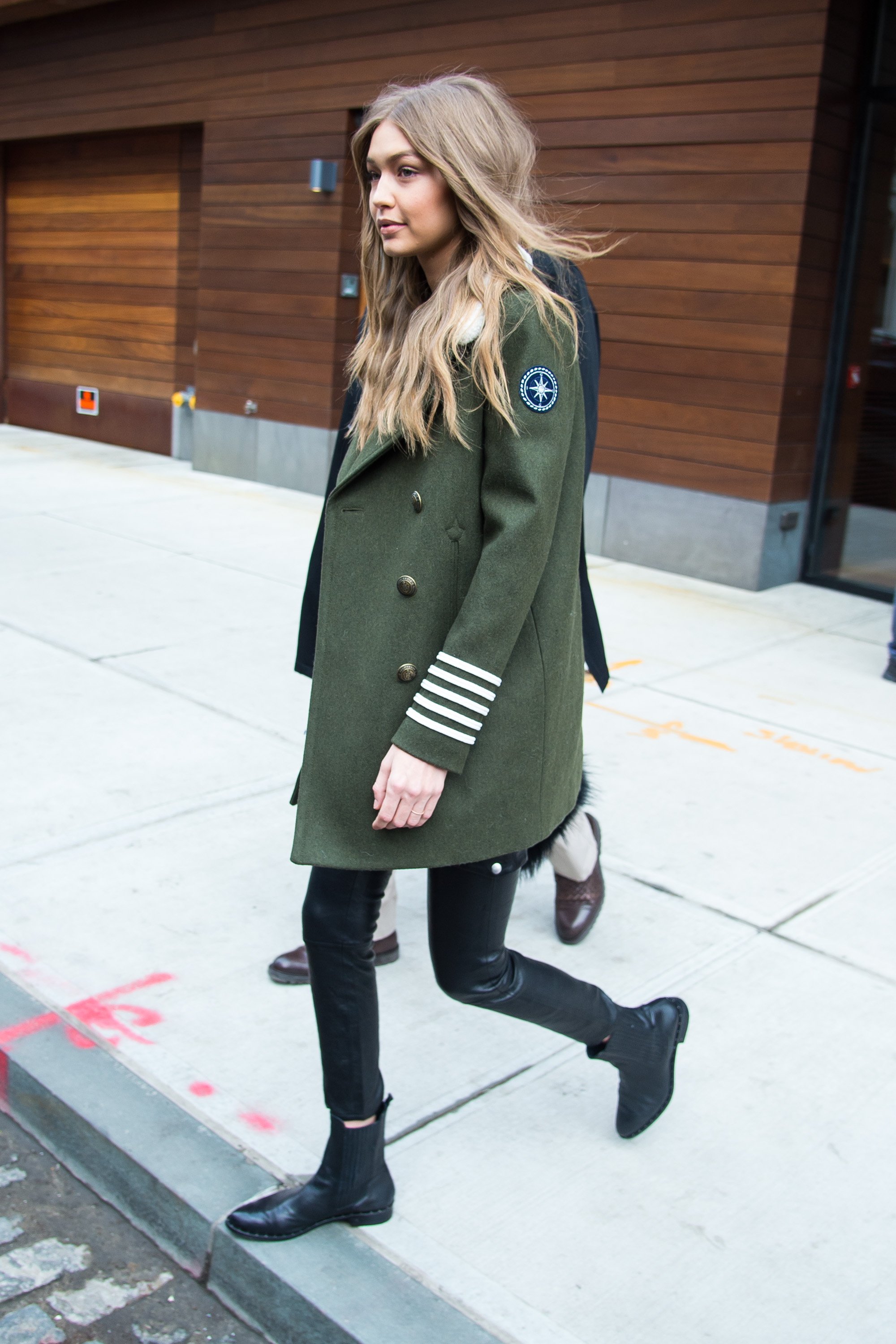 Model Gigi Hadid seen wearing a green jacket and black leather pants in NoHo, New York. <P> Pictured: Gigi Hadid <B>Ref: SPL1434992  050217  </B><BR/> Picture by: TheStewartofNY/Splash News<BR/> </P><P> <B>Splash News and Pictures</B><BR/> Los Angeles:310-821-2666<BR/> New York:212-619-2666<BR/> London:870-934-2666<BR/> <span id=