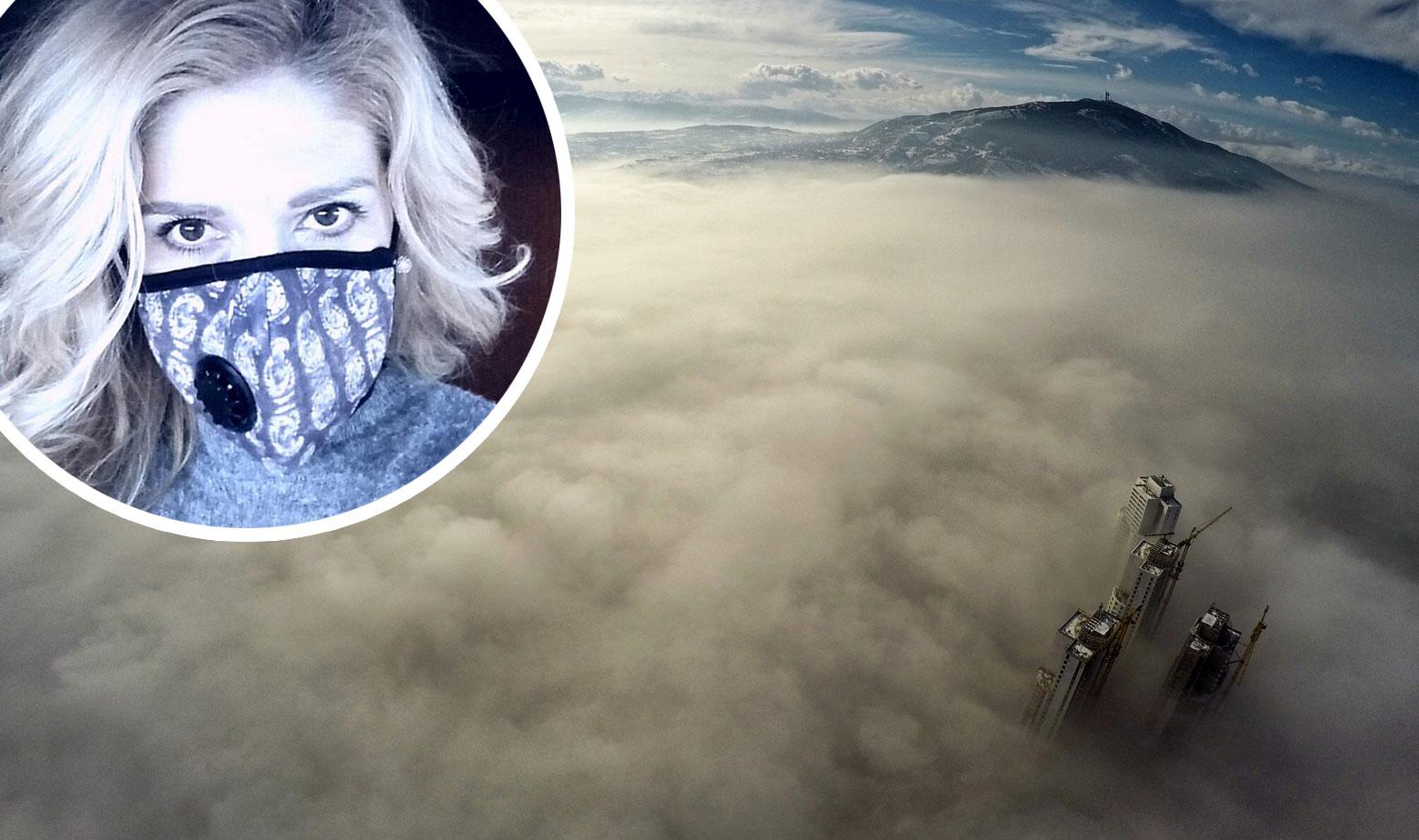 Samo par nebodera izviruje iz smoga koji je prekrio Skopje. U krugu: Rebeka Jankovska Risteski