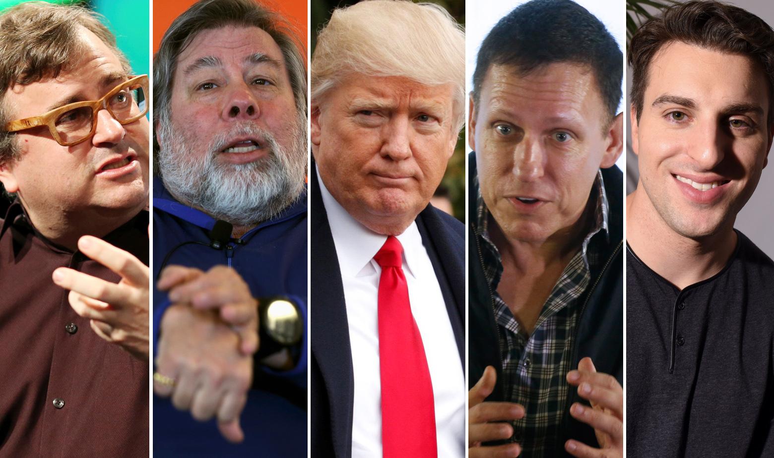 S lijeva na desno: Reid Hoffman, suosnivač LinkedIna, Steve Wozniak, suosnivač Applea, Donald Trump, Peter Thiel, suosnivač PayPala i Brian Chesky CEO Airbnb-a