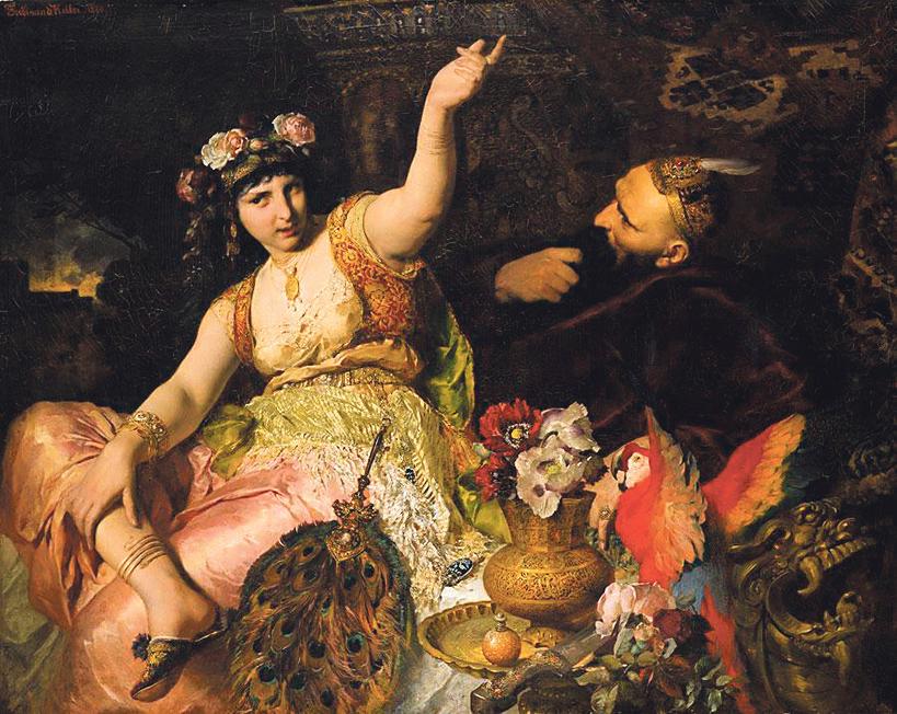 Ferdinand Keller: Šeherezada i sultan Šahriar (1880)