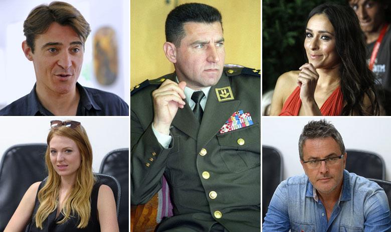 Goran Višnjić, Nataša Janjić (dolje lijevo), Ante Gotovina, Zrinka Cvitešić, Tarik Filipović (dolje desno)