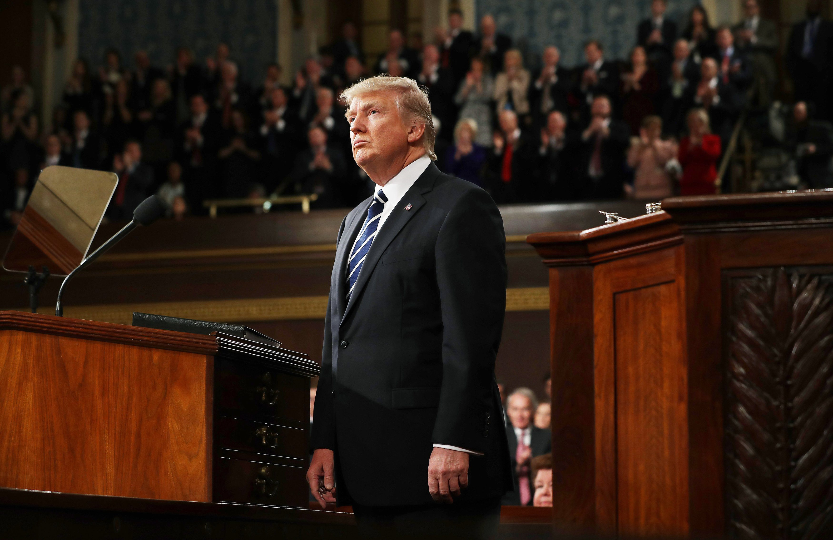 U.S. President Donald Trump delivers his first address to a joint session of Congress from the floor of the House of Representatives iin Washington, U.S., February 28, 2017.  REUTERS/Jim Lo Scalzo/Pool