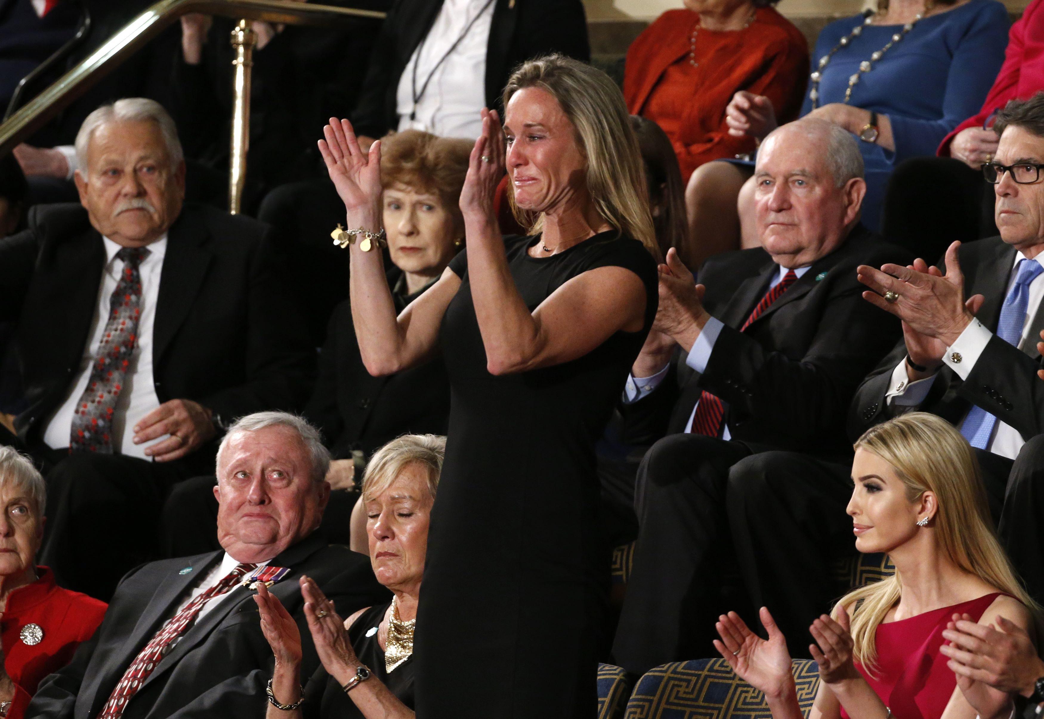 U.S. President Trump Addresses Joint Session of Congress - Washington, U.S. - 28/02/17 - Carryn Owens (C), widow of Senior Chief Petty Officer William
