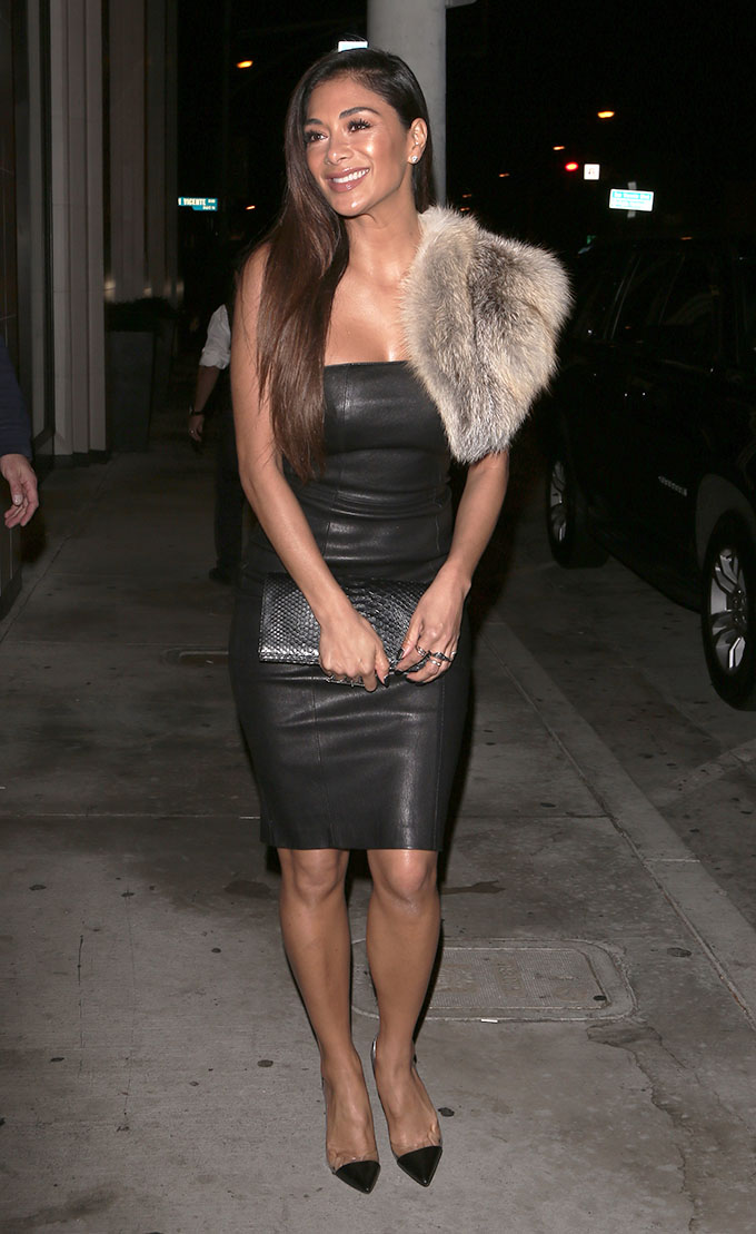 Nicole Scherzinger spotted wearing a leather skirt and fur shoulder piece as she arrives at Catch restaurant in West Hollywood, California, USA.  <P> Pictured: Nicole Scherzinger <B>Ref: SPL1456095  120317  </B><BR/> Picture by: TwisT / Splash News<BR/> </P><P> <B>Splash News and Pictures</B><BR/> Los Angeles:310-821-2666<BR/> New York:212-619-2666<BR/> London:870-934-2666<BR/> <span id=