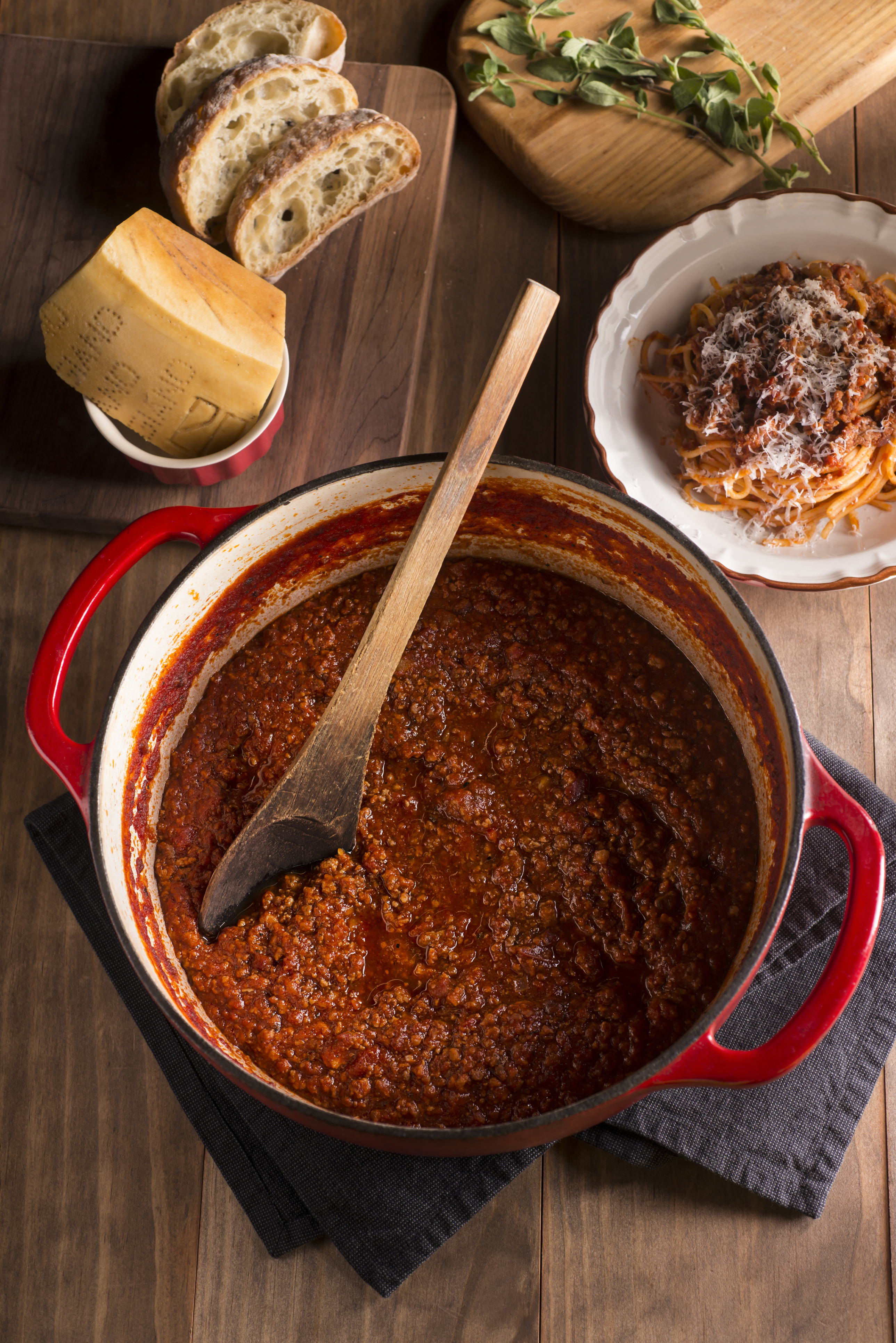 Bolognese Sauce Cooking In Enameled Cast Iron Dutch Oven