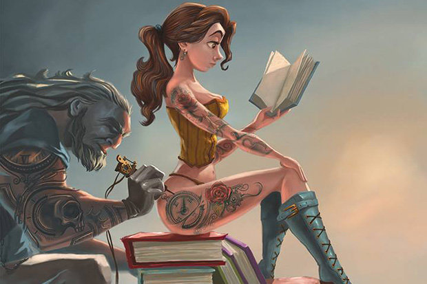 Belle-from-beauty-and-the-beast-in-corset-with-tattoos-463807