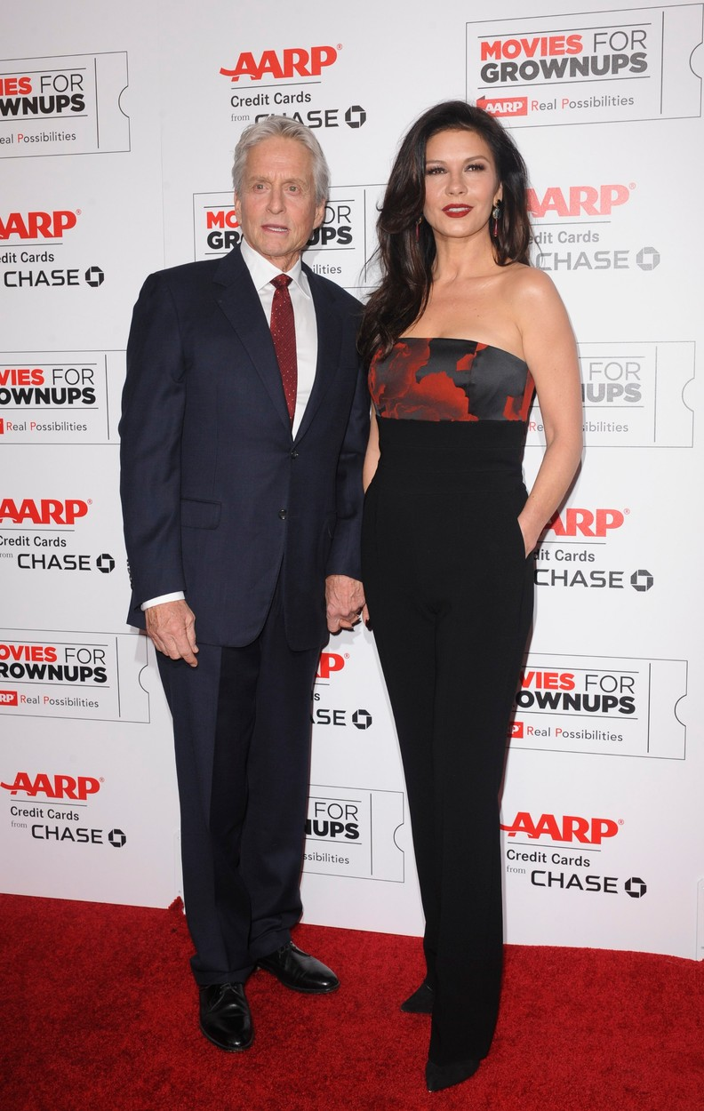 Michael Douglas, Catherine Zeta-Jones at arrivals for AARP The Magazine's Movies For Grownups Awards, The Beverly Wilshire Hotel, Beverly Hills, CA February 8, 2016., Image: 273514376, License: Rights-managed, Restrictions: For usage credit please use; Elizabeth Goodenough/Everett Collection, Model Release: no, Credit line: Profimedia, Everett