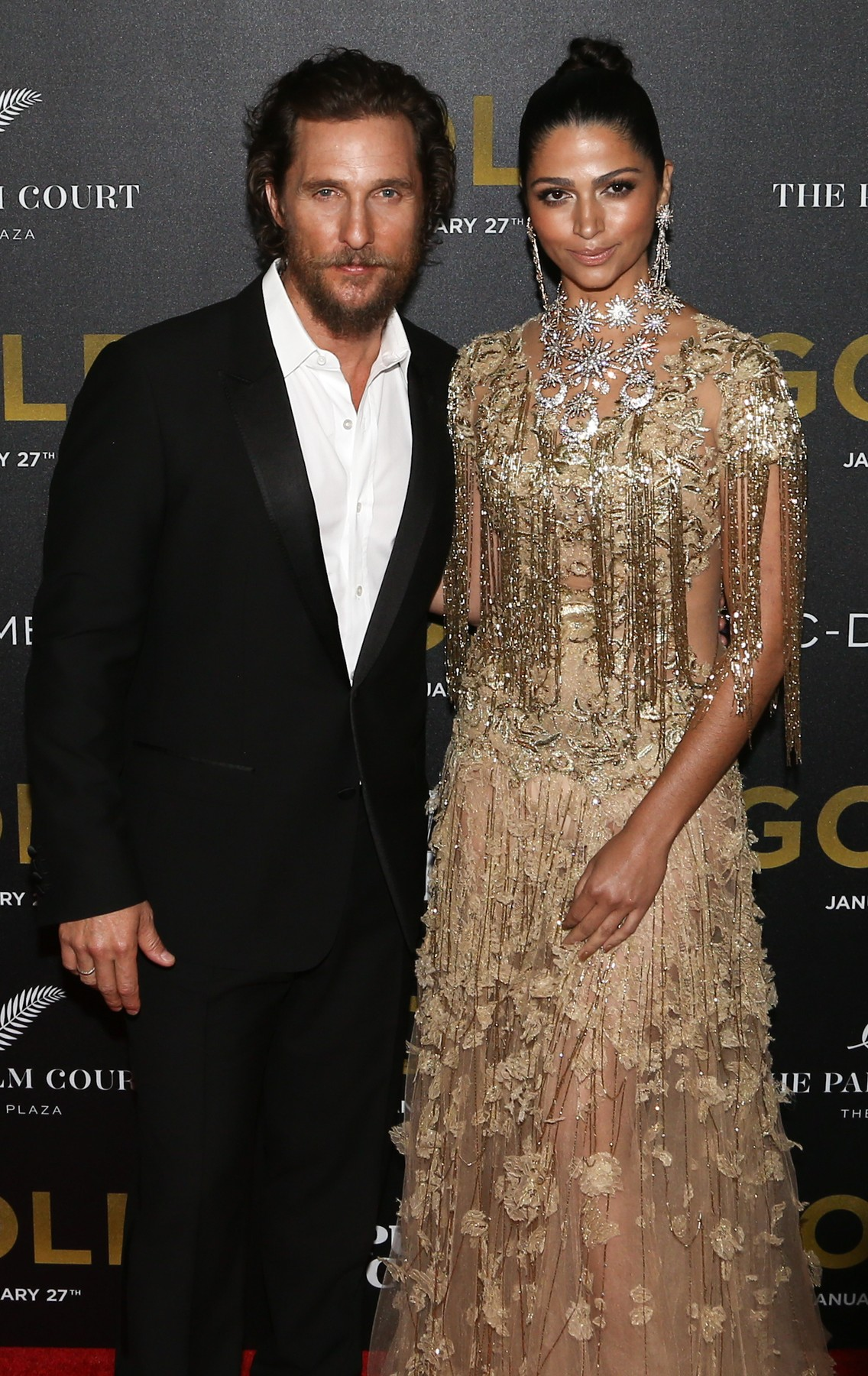 Actor Matthew McConaughey and Camila Alves attend the world premiere of 'Gold' hosted by TWC - Dimension with Popular Mechanics, The Palm Court & Wild Turkey Bourbon at AMC Loews Lincoln Square 13 in New York on January 17, 2017., Image: 311359690, License: Rights-managed, Restrictions: *** World Rights ***, Model Release: no, Credit line: Profimedia, SIPA USA