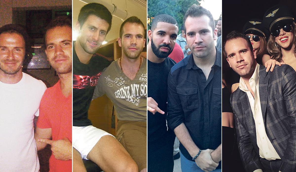 S lijeva na desno: Saša Dević s Beckhamom, Đokovićem, Drakeom, skupinom hostesa