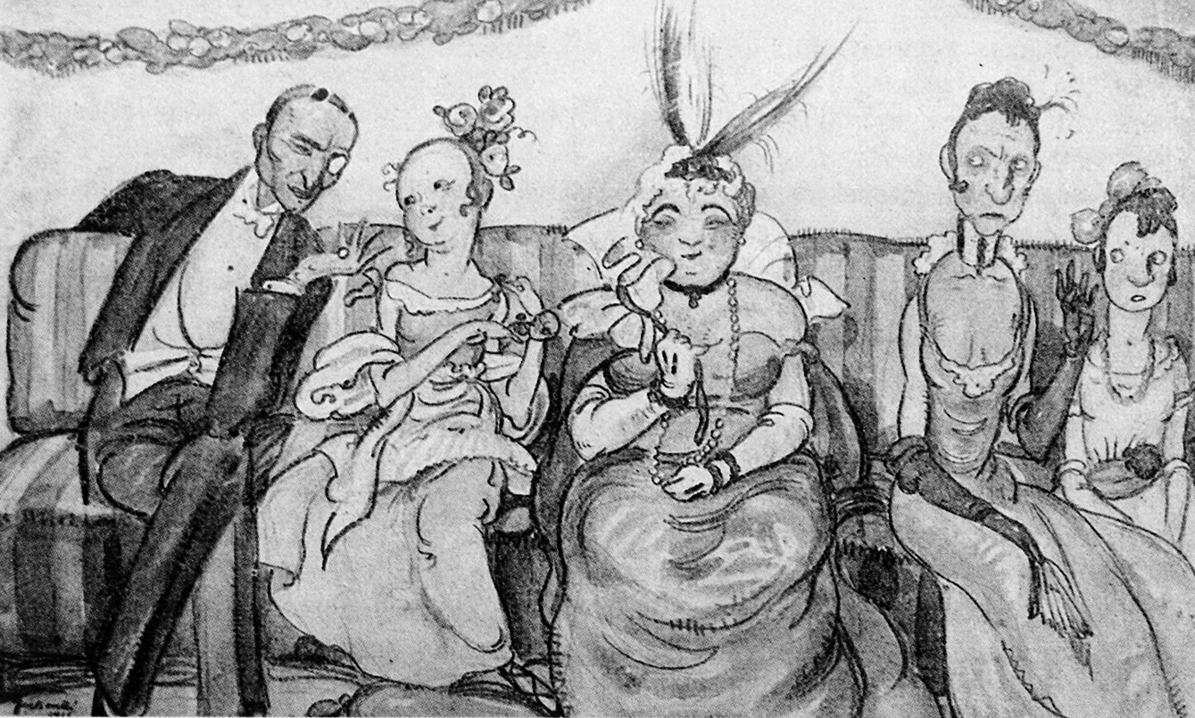 """Karikaturalan pristup društvenim temama bio je čest u djelima """"medulićevaca"""", pa tako i kod Zoe Borelli, jedne od rijetkih žena u društvu."""