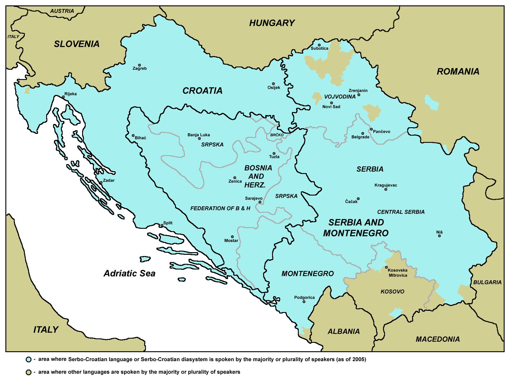 Karta područja na kojem se govore hrvatski, srpski, bosanski i crnogorski