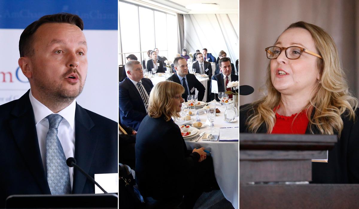 Berislav Horvat, predsjednik AmCham-a, sudionici konferencije, Andrea Doko Jelušić, izvrsna direktorica AmCham-a
