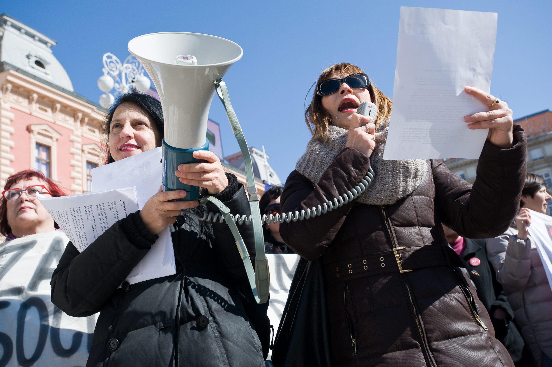 Ilustracija: Akcija aktivistkinja na Trgu bana Jelačića u zagrebu 8. ožujka ove godine