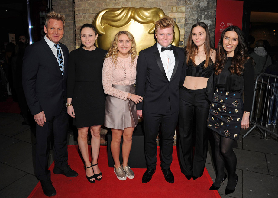 LONDON, ENGLAND - NOVEMBER 20:  (L to R) Gordon Ramsay,  Megan Ramsay, Matilda Ramsay, Jack Ramsay, Holly Ramsay and Tana Ramsay at the BAFTA Children's Awards at The Roundhouse on November 20, 2016 in London, England.  (Photo by Eamonn M. McCormack/Getty Images)