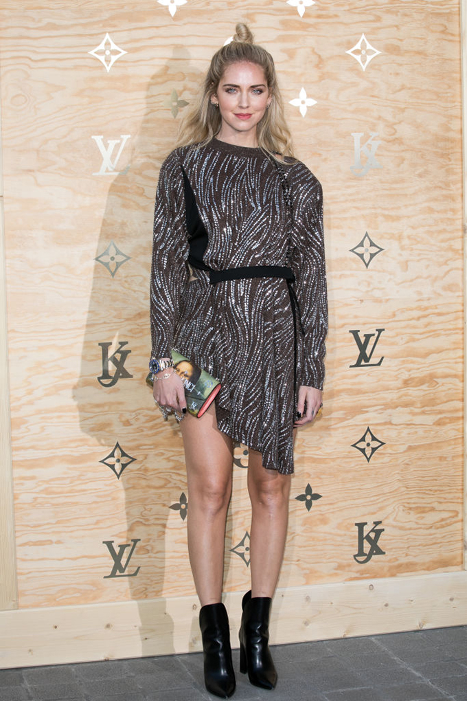 PARIS, FRANCE - APRIL 11:  Chiara Ferragni attends the 'Louis Vuitton Masters: a collaboration with Jeff Koons' dinner at Musee du Louvre on April 11, 2017 in Paris, France.  (Photo by Marc Piasecki/WireImage)