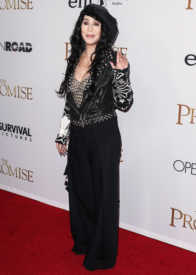 HOLLYWOOD, LOS ANGELES, CA, USA - APRIL 12: Singer Cher arrives at the Los Angeles Premiere Of Open Road Films' 'The Promise' held at the TCL Chinese Theatre IMAX on April 12, 2017 in Hollywood, Los Angeles, California, United States. (Photo by Xavier Collin/Image Press Agency/Splash News) <P> Pictured: Cher <B>Ref: SPL1478506  120417  </B><BR/> Picture by: Xavier Collin/IPA/Splash News<BR/> </P><P> <B>Splash News and Pictures</B><BR/> Los Angeles:310-821-2666<BR/> New York:212-619-2666<BR/> London:870-934-2666<BR/> <span id=