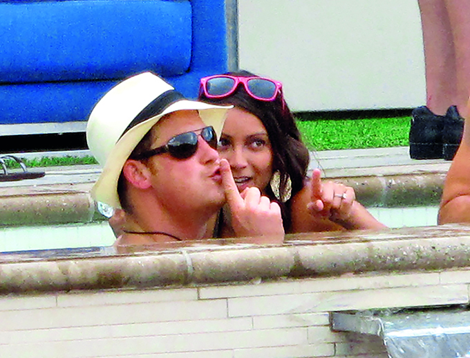 EXCLUSIVE: **PREMIUM RATES APPLY** Prince Harry along with friends and many females partied in an exclusive, heavily-guarded VIP Bungalow at Wet Republic in Las Vegas. Prince Harry seemed to talk to a darker skinned girl the most as he had fun in his private pool. <P> Pictured: Prince Harry <P> <B>Ref: SPL429374  260812   EXCLUSIVE</B><BR/> Picture by: EBLV / Splash News<BR/> </P><P> <B>Splash News and Pictures</B><BR/> Los Angeles:310-821-2666<BR/> New York:212-619-2666<BR/> London:870-934-2666<BR/> <span id=