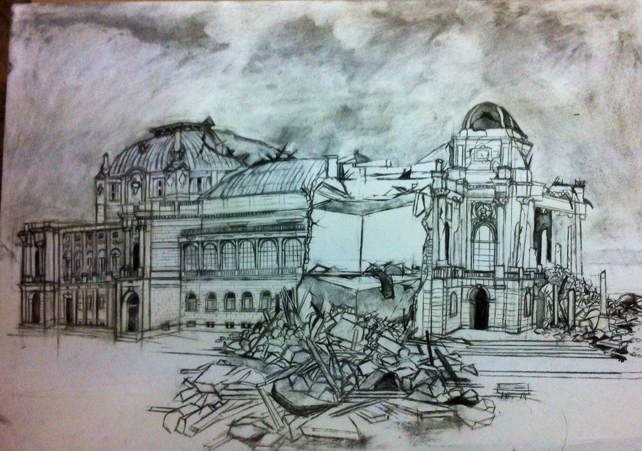 Crtež Maše Barišić koji prikazuje zgradu zagrebačkog HNK u urušenom obliku
