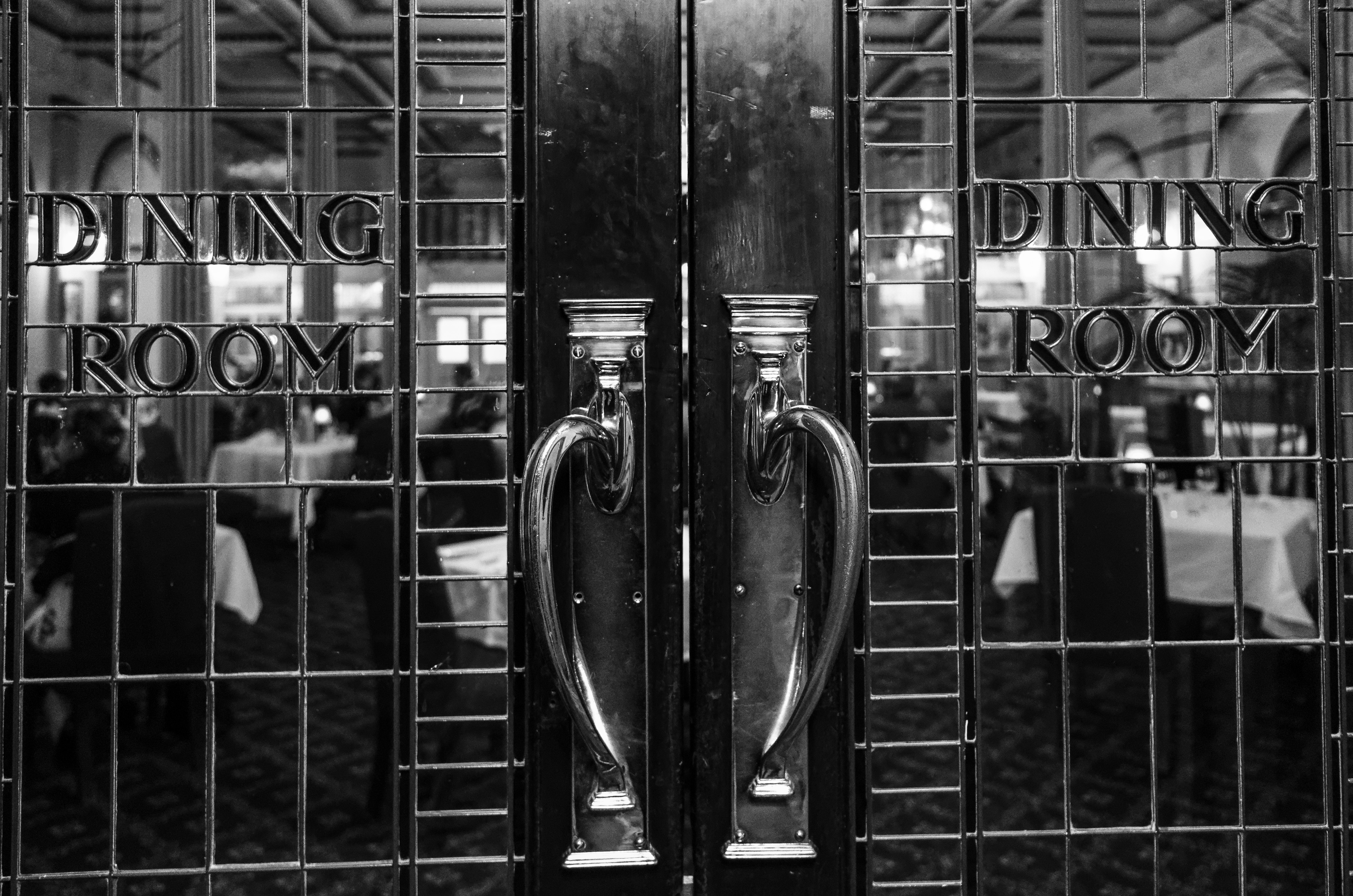 The elegant -- although smudgy -- dining room doors at the Carrington Hotel in Katoomba, Blue Mountains, Australia.