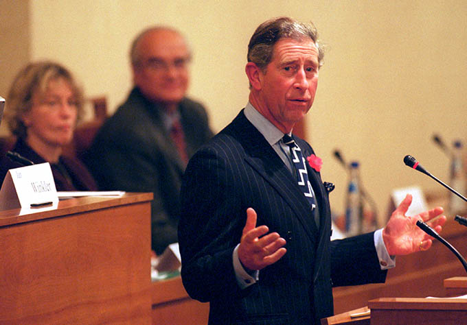 381022 04: Britain's Prince Charles speaks to the Czech Senate October 30, 2000 in Prague, Czech Republic. Prince Charles is on a three-day visit to the Czech Republic. (Photo by Sean Gallup/Newsmakers)