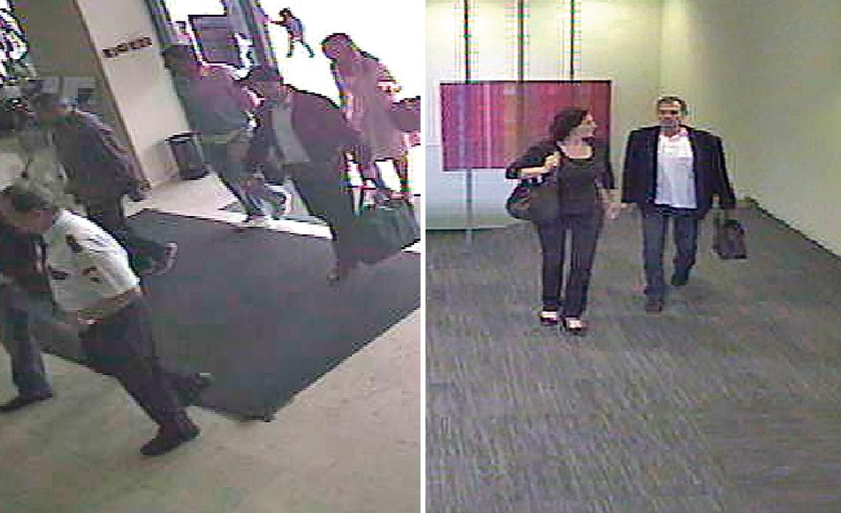 Robert Brus, Miro Vrlja i Mirjana Petrović unose u Hypo banku torbu sa 9,6 milijuna kuna. Ispred njih hodaju dvojica nepoznatih muškaraca (lijevo); Mirsad Dročić dolazi u banku te s računa  podiže novac (desno)