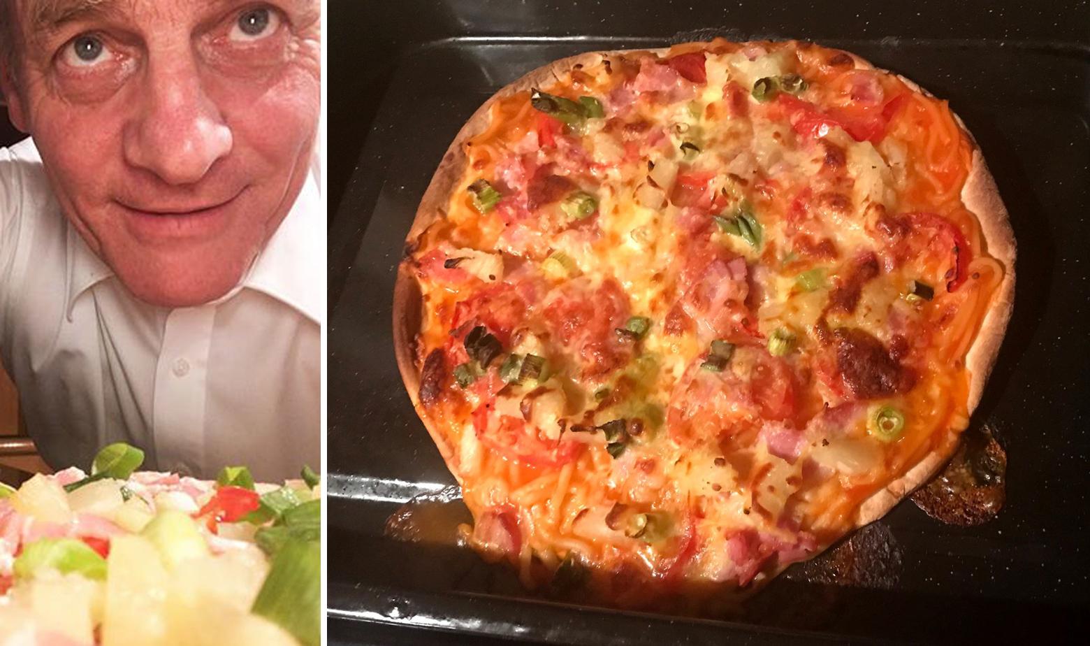 Bill English i pizza špageti