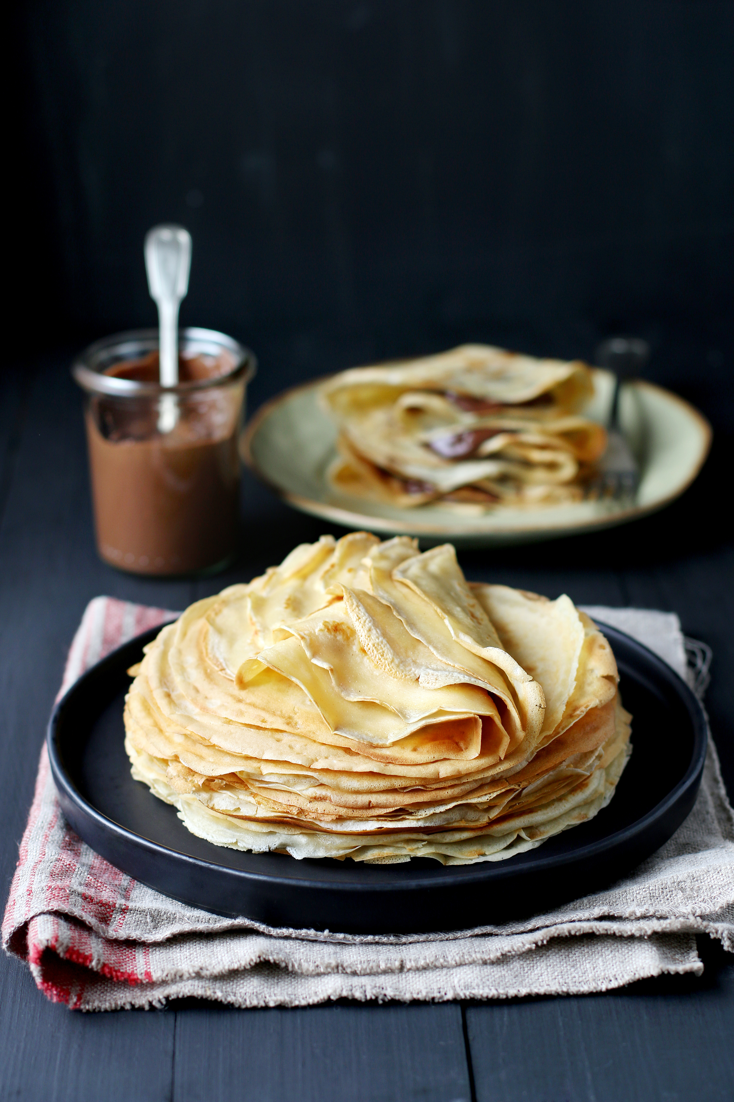 Stack of crepes on a plate