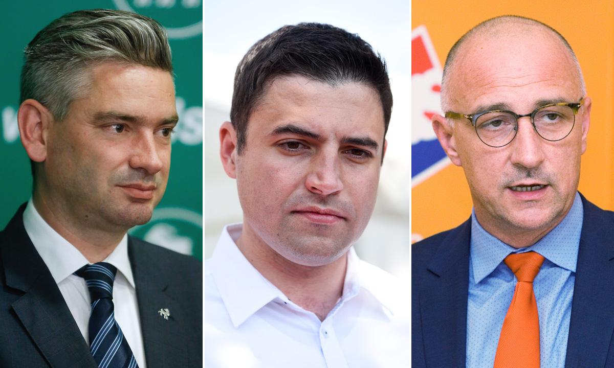 Boris Miletić (IDS), Davor Bernardić (SDP) i Ivan Vrdoljak (HNS)