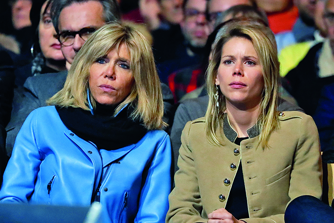 Brigitte Trogneux, alongside her daughter Tiphaine Auziere, listens to her husband and candidate for the France's 2017 presidential elections Emmanuel Macron delivering his speech during a campaign rally at the Grand Palais in Lille, north of France, on January 14, 2017., Image: 310827709, License: Rights-managed, Restrictions: , Model Release: no, Credit line: Profimedia, Abaca