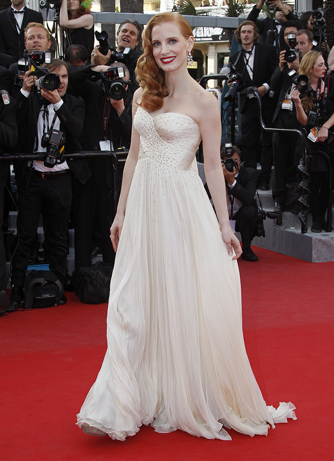 Voice actress Jessica Chastain arrives on the red carpet for the screening of the animated film