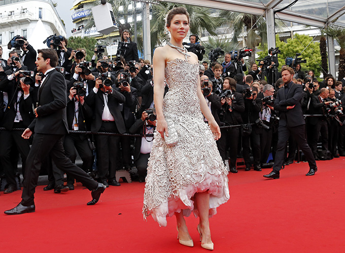 Actress Jessica Biel poses on the red carpet as she arrives for the screening of the film