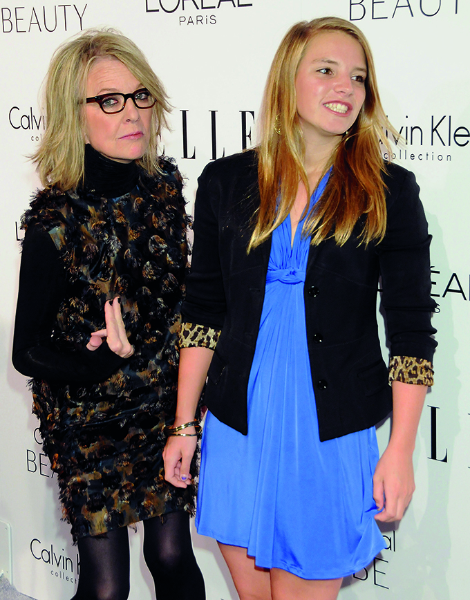 LOS ANGELES, CA - OCTOBER 18: Diane Keaton and daughter arrive at ELLE Honors Hollywood's Most Esteemed Women in the 17th Annual Women in Hollywood Tribute held at The Four Seasons Beverly Hills on October 18, 2010 in Los Angeles, California.  (Photo by Gregg DeGuire/FilmMagic)