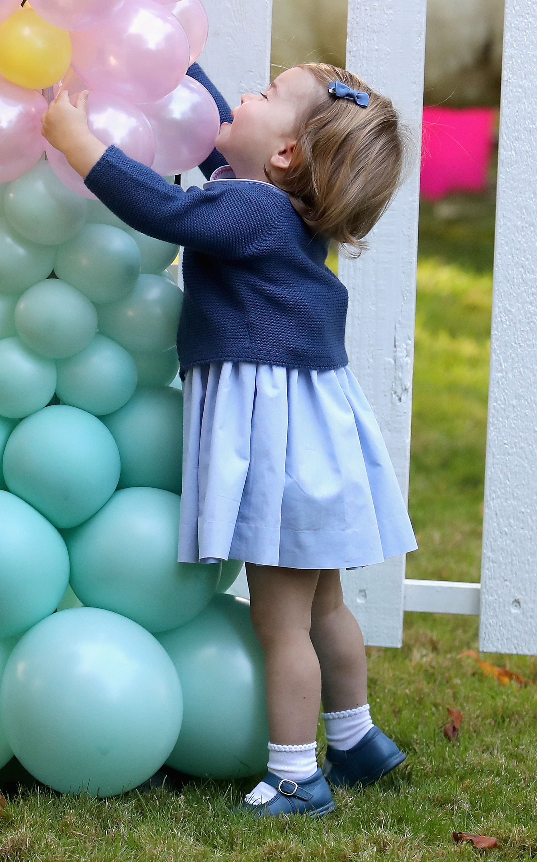 VICTORIA, BC - SEPTEMBER 29:  Princess Charlotte of Cambridge at a children's party for Military families during the Royal Tour of Canada on September 29, 2016 in Victoria, Canada. Prince William, Duke of Cambridge, Catherine, Duchess of Cambridge, Prince George and Princess Charlotte are visiting Canada as part of an eight day visit to the country taking in areas such as Bella Bella, Whitehorse and Kelowna  (Photo by Chris Jackson - Pool/Getty Images)