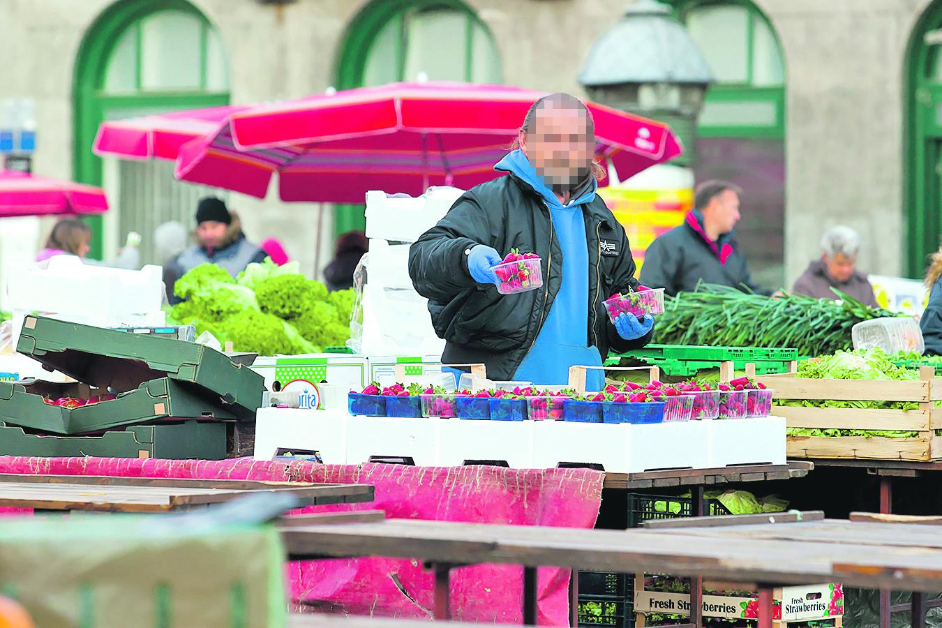 Zagreb, 210417. Reportaza o preprodavacima na trznici Dolac. Na fotografiji: prodavac jagoda na Dolcu. Foto: Tomislav Kristo / CROPIX