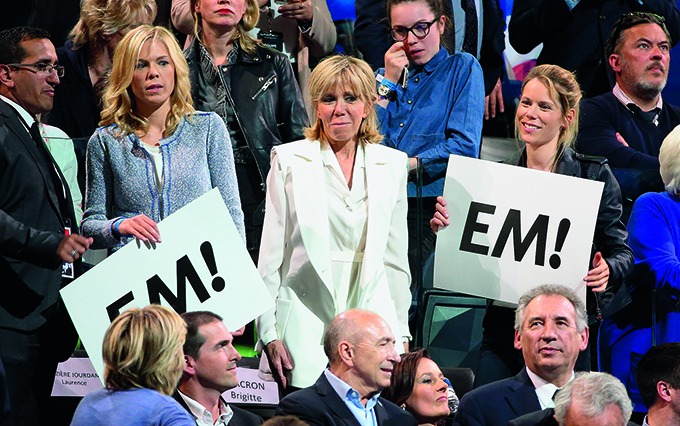 PARIS, FRANCE - APRIL 17: Brigitte Macron aka Brigitte Trogneux (wife of Emmanuel Macron) and her daughters Laurence Auziere and Tiphaine Auziere attend the campaign rally of  French presidential candidate Emmanuel Macron (En Marche) at AccorHotels Arena (Paris-Bercy) on April 17, 2017 in Paris, France. (Photo by Jean Catuffe/Getty Images)