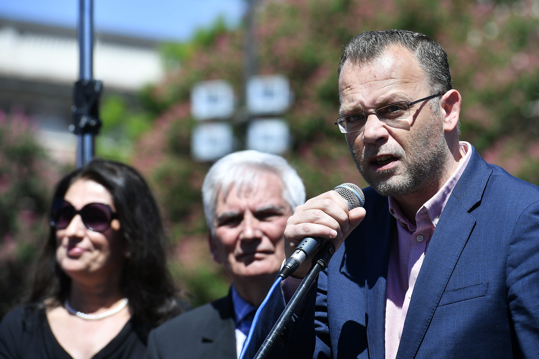 Zlatko Hasanbegović na prosvjedu u organizaciji građanske inicijative Krug za trg s ciljem promjene imena Trga maršala Tita u Kazališni trg
