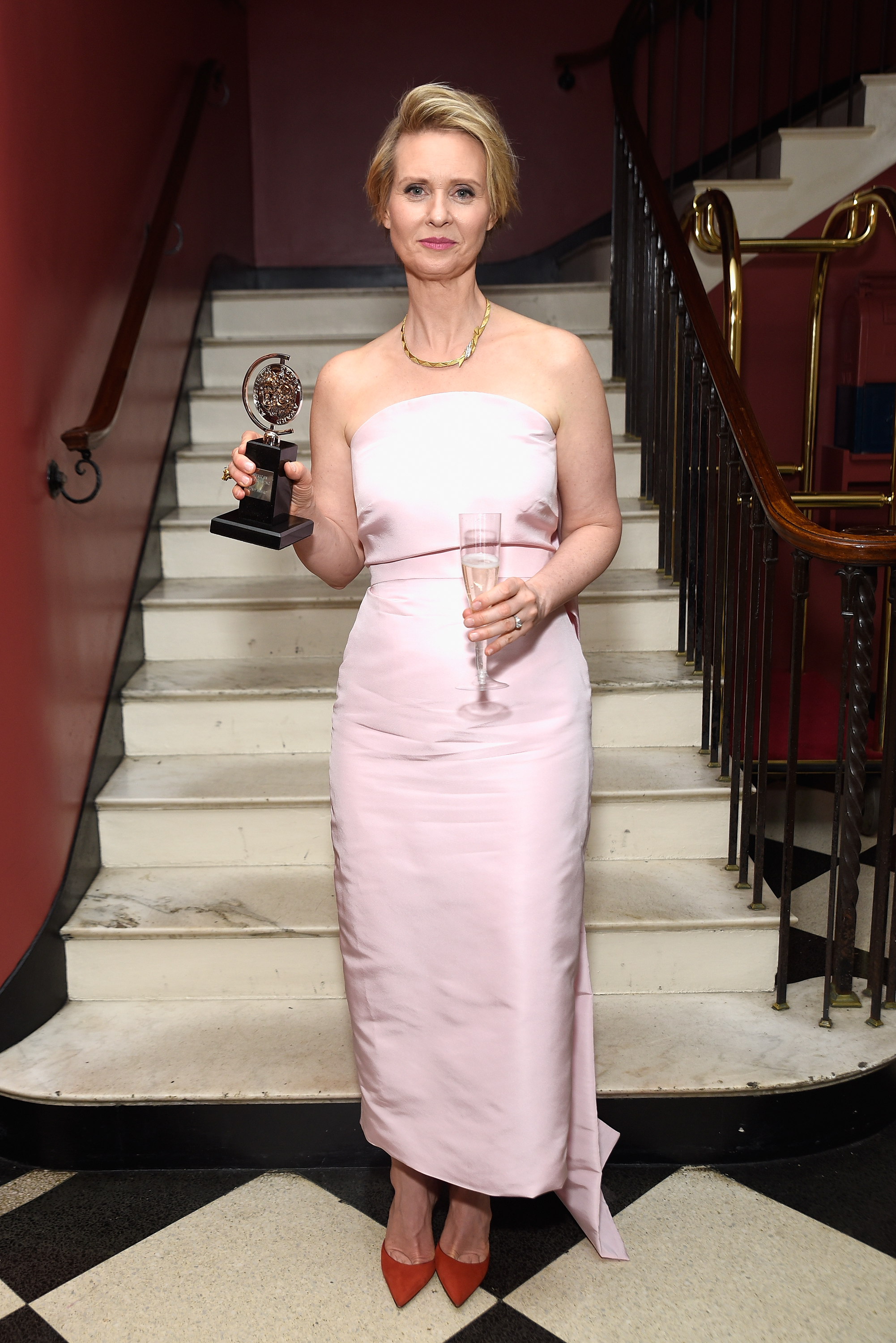 NEW YORK, NY - JUNE 11:  Cynthia Nixon, winner of the award for Best Featured Actress in a Play for The Little Foxes, poses in the press room during the 2017 Tony Awards at 3 West Club on June 11, 2017 in New York City.  (Photo by Jenny Anderson/Getty Images for Tony Awards Productions)