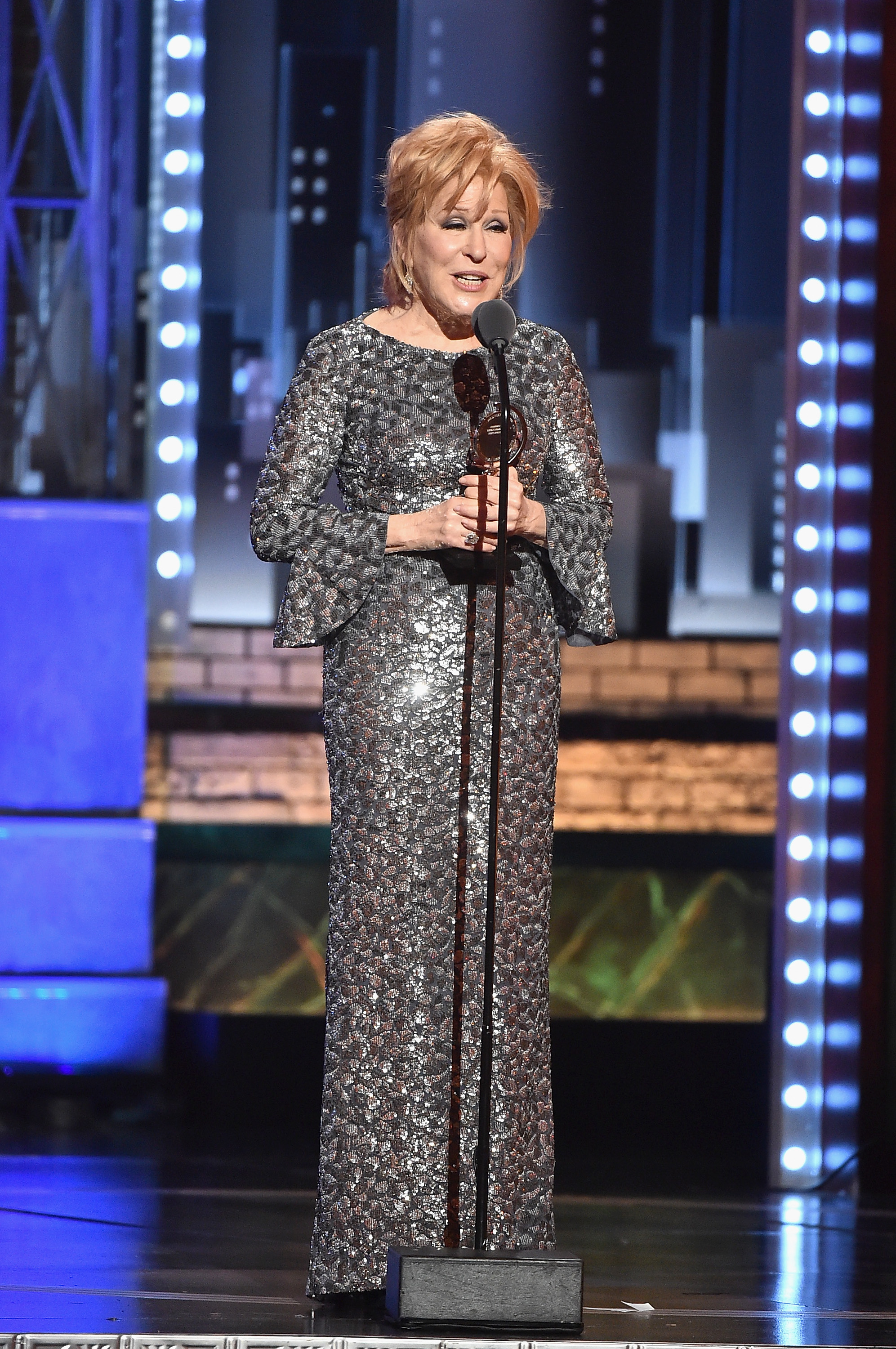 NEW YORK, NY - JUNE 11:  Bette Midler accepts the award for Best Performance by an Actress in a Leading Role in a Musical for Hello, Dolly! onstage during the 2017 Tony Awards at Radio City Music Hall on June 11, 2017 in New York City.  (Photo by Theo Wargo/Getty Images for Tony Awards Productions)