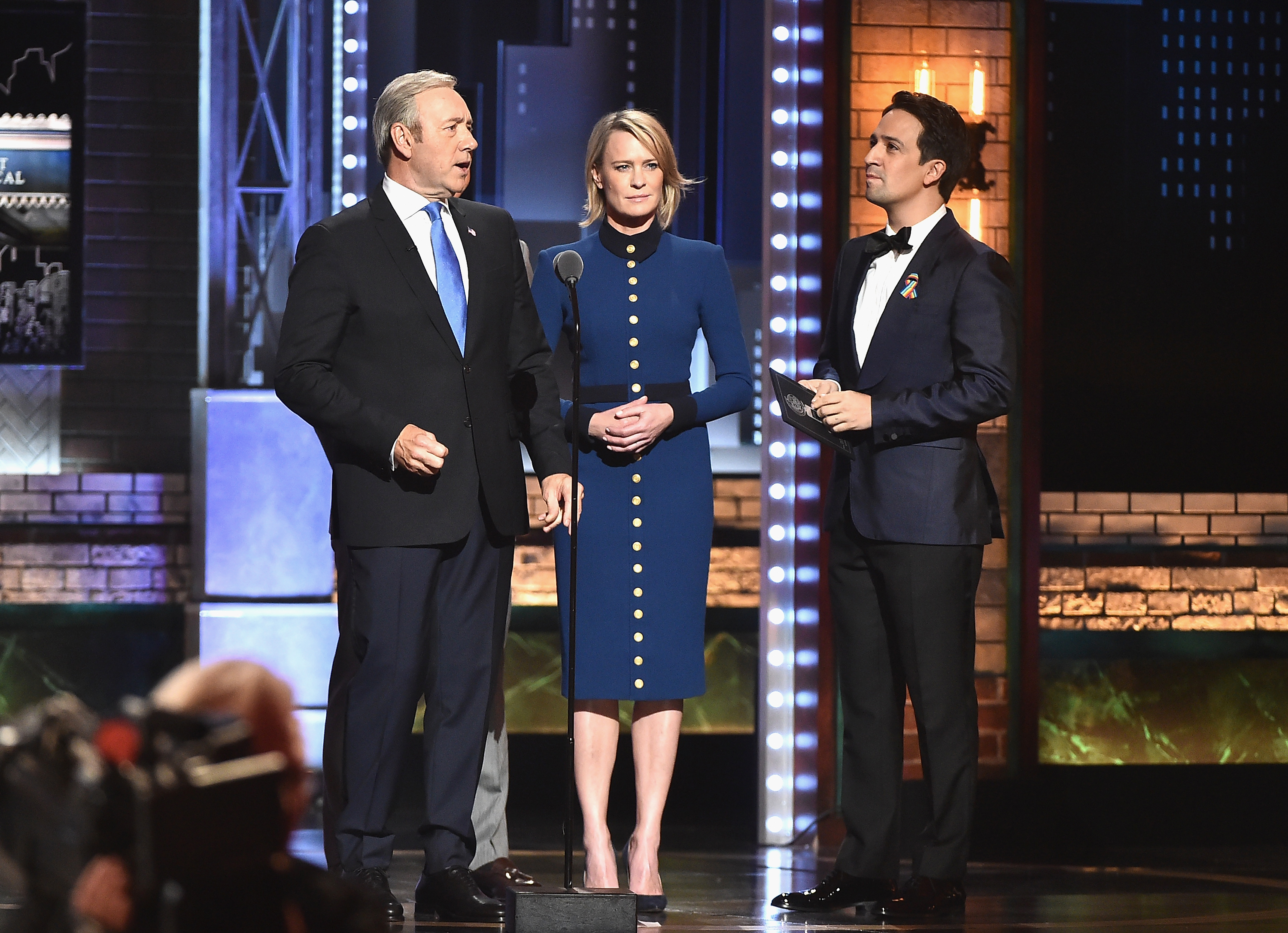 NEW YORK, NY - JUNE 11:  (L-R) Kevin Spacey, Robin Wright, and Lin-Manuel Miranda speak onstage during the 2017 Tony Awards at Radio City Music Hall on June 11, 2017 in New York City.  (Photo by Theo Wargo/Getty Images for Tony Awards Productions)