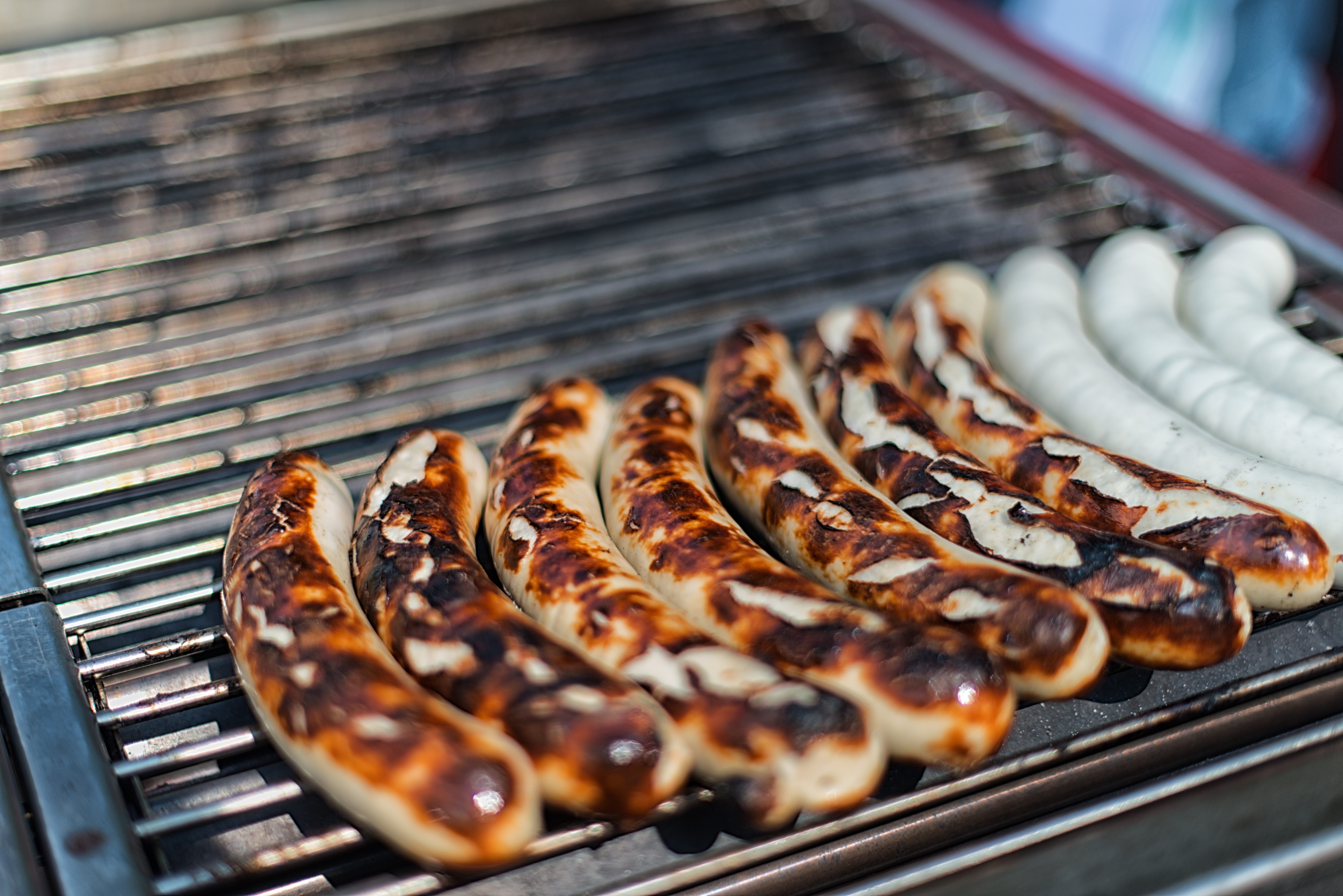 Typical St. Galler Bratwurst on grill