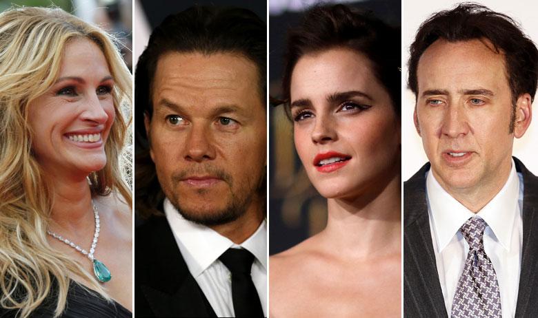 Julia Roberts, Mark Wahlberg, Emma Watson, Nicolas Cage