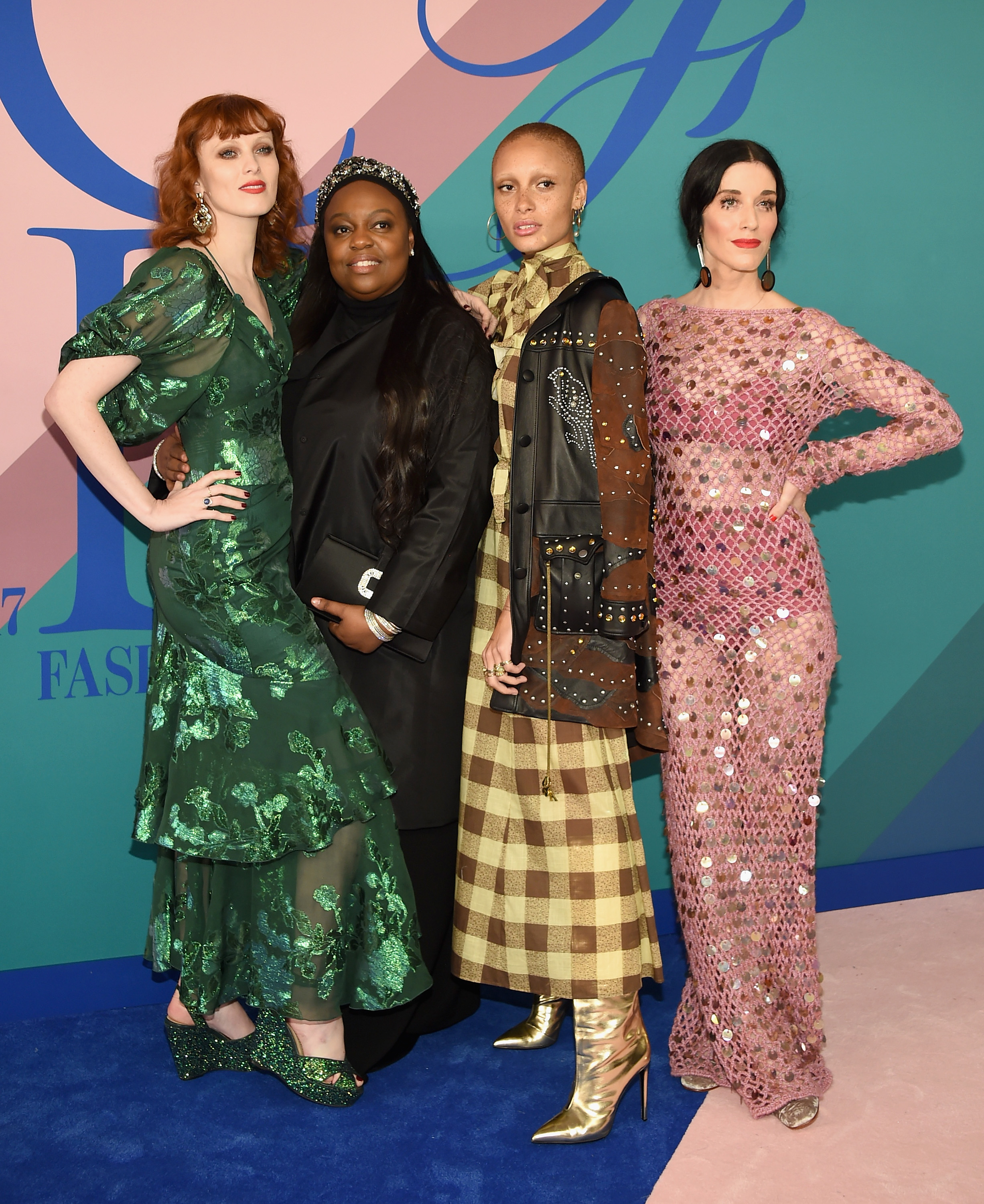 NEW YORK, NY - JUNE 05:  (L-R) Karen Elson, Pat McGrath, Adwoa Aboah and Sarah Sophie Flicker attend the 2017 CFDA Fashion Awards at Hammerstein Ballroom on June 5, 2017 in New York City.  (Photo by Dimitrios Kambouris/Getty Images)