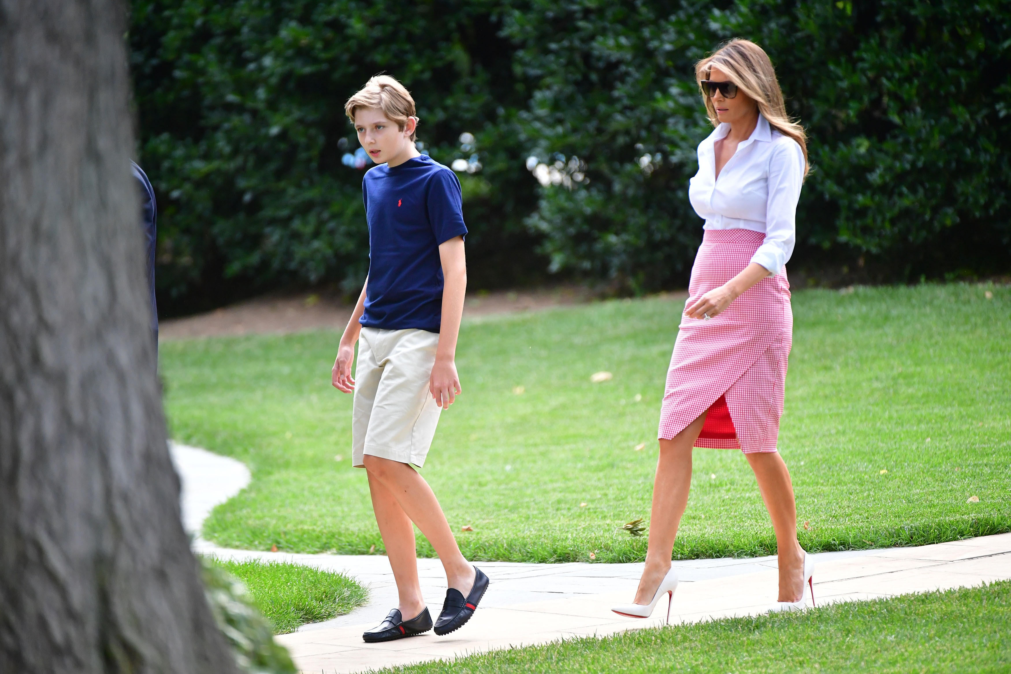 First Lady Melania Trump and son Barron depart the White House for a weekend trip to Bedminster, New Jersey with President Donald Trump, on June 30, 2017 in Washington, D.C. Photo by /UPI, Image: 339746987, License: Rights-managed, Restrictions: , Model Release: no, Credit line: Profimedia, UPI