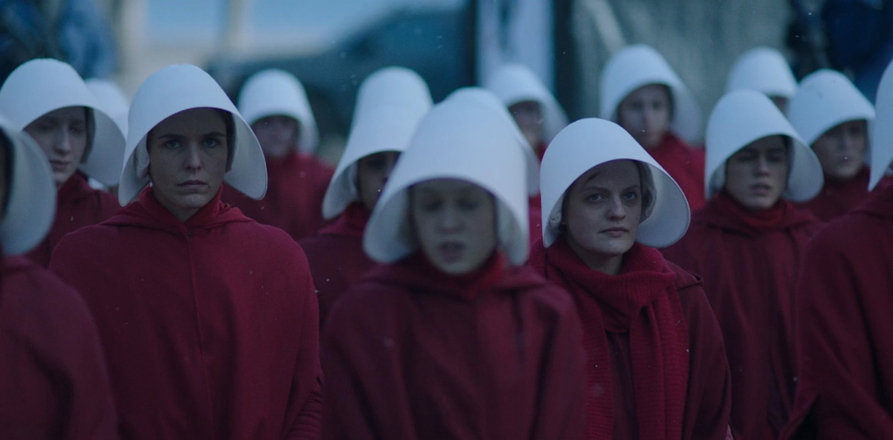 Los Angeles.CA.USA. Elisabeth Moss  in ©HULU TV series, The Handmaid's Tale  (TV) (2017) S1E10 Creator:Bruce Miller Source:Margaret Atwood's novel with the same title Plot:Set in the near future, a fundamentalist Christian state of Gilead has created a biblical law version of the former USA. Women's rights have been removed by the the new patriarchy. Some have been selected to breed new warriors to defend the state, the handmaidens as the fertility rates have fallen dramatically due to pollution., Image: 341504662, License: Rights-managed, Restrictions: Supplied by Landmark Media. Editorial Only. Landmark Media is not the copyright owner of these Film or TV stills but provides a service only for recognised Media outlets., Model Release: no, Credit line: Profimedia, Landmark