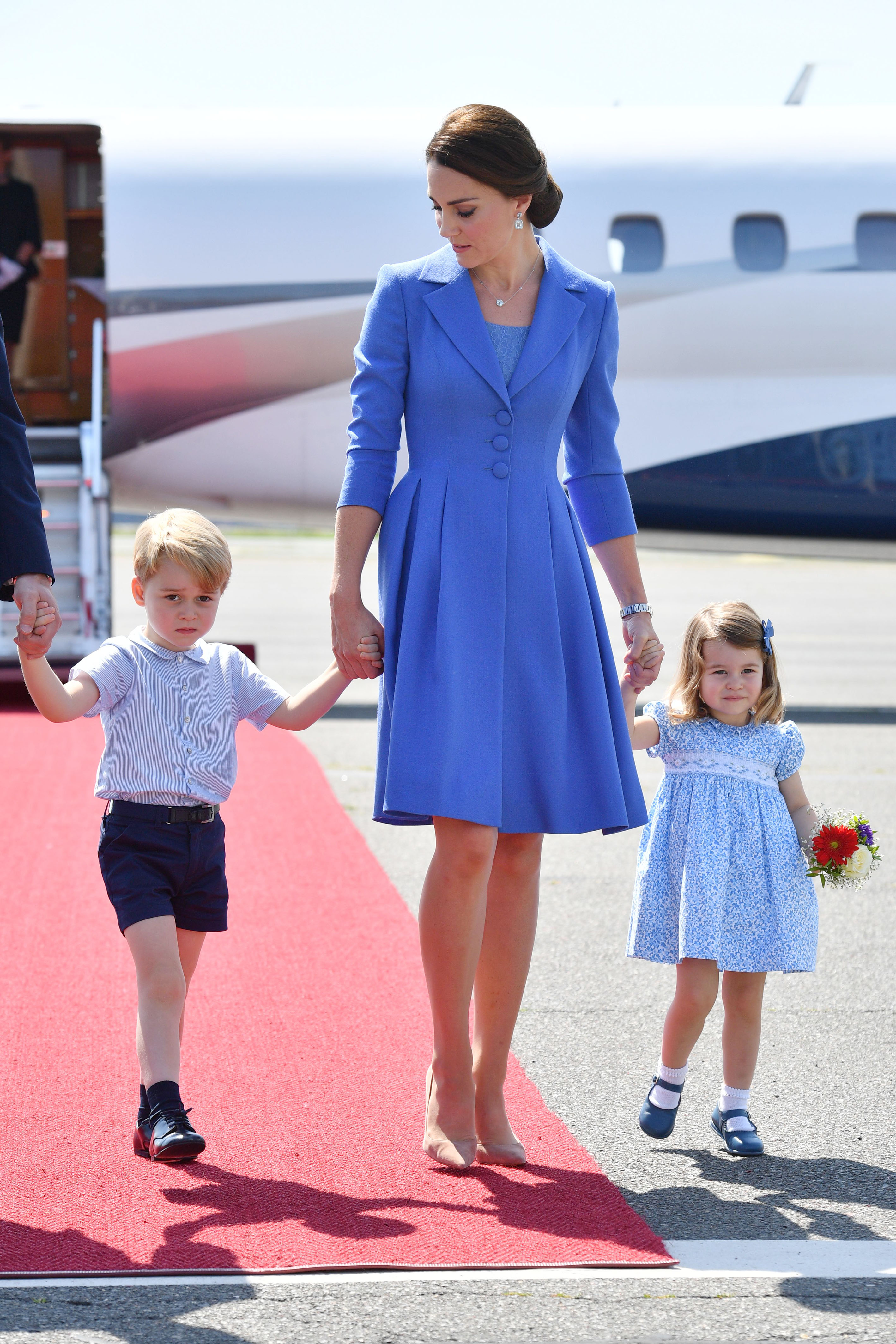 19 July 2017.    (8965959a)  Prince William, Catherine Duchess of Cambridge, Prince George, Princess Charlotte arriving in Berlin, Germany  Prince William and Catherine Duchess of Cambridge visit to Germany - 19 Jul 2017, Image: 342427544, License: Rights-managed, Restrictions: **No UK Sales Until 28 Days After Create Date**, Model Release: no, Credit line: Profimedia, Goff Photos