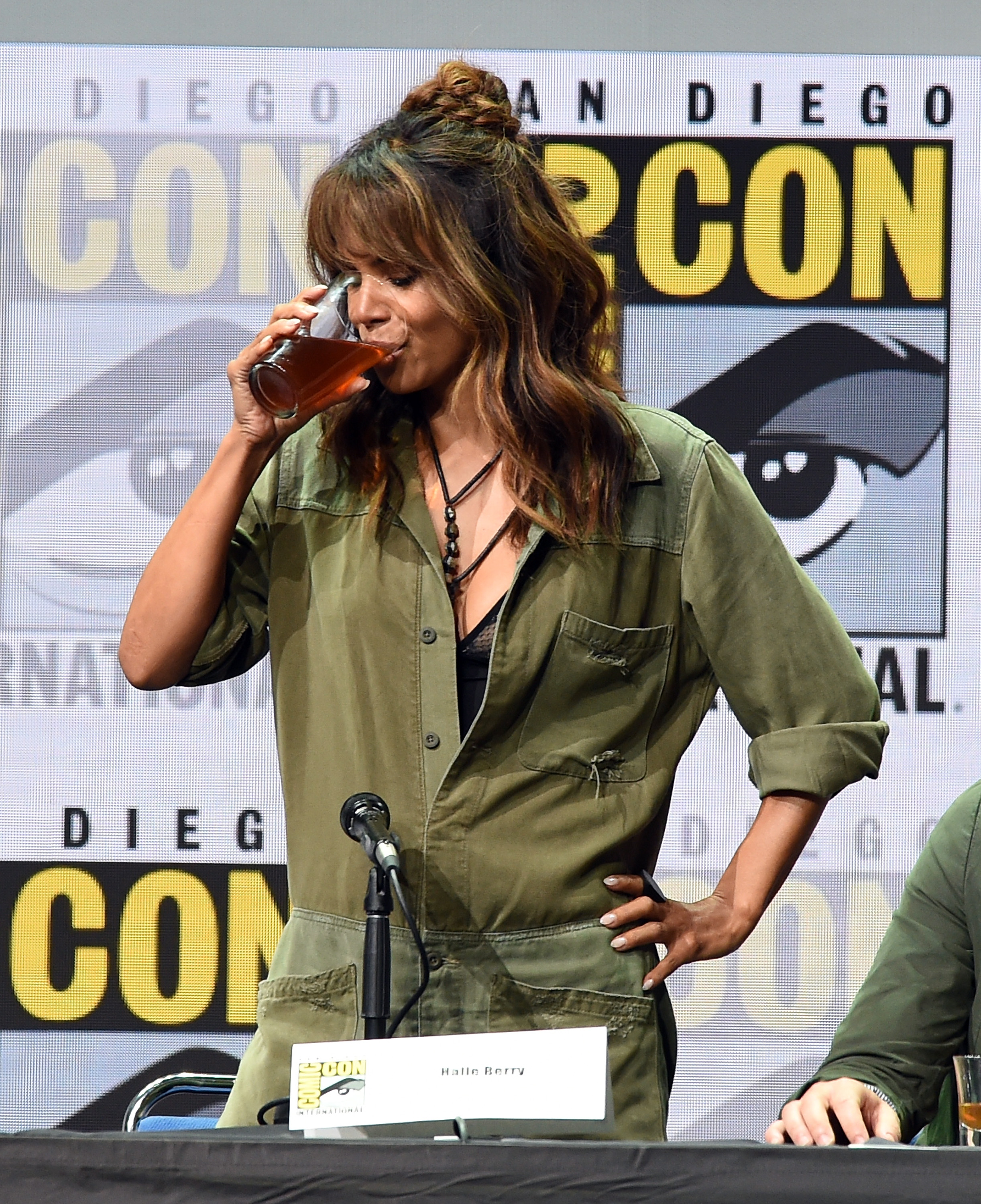 SAN DIEGO, CA - JULY 20:  Actor Halle Berry takes a drink onstage at the 20th Century FOX panel during Comic-Con International 2017 at San Diego Convention Center on July 20, 2017 in San Diego, California.  (Photo by Kevin Winter/Getty Images)